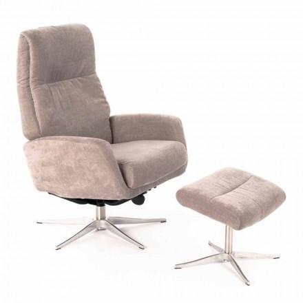Poltrona reclinável para lounge com apoio para pés estofada em veludo - Angelina