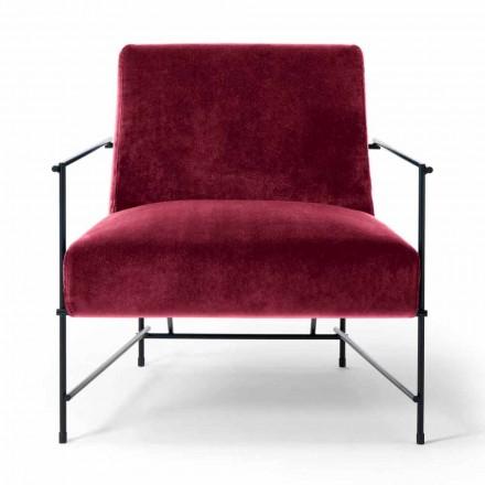 Poltrona de tecido para sala de estar com estrutura metálica Made in Italy - Manila