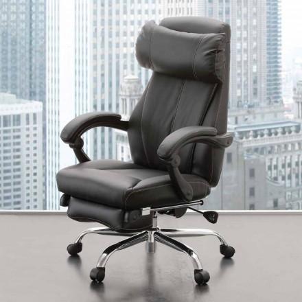 Poltrona de escritório giratória e reclinável em couro ecológico preto - Nazzareno