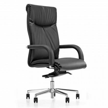 Cadeira de escritório presidencial com rodas de couro sintético preto - Tomomi