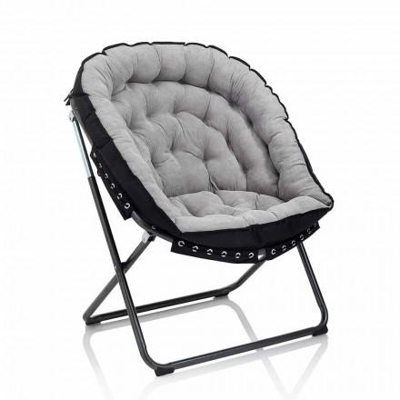 Poltrona Design em Veludo Cinzento Claro com Estrutura de Metal Preto - Tronia