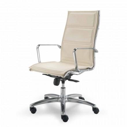 Cadeira de escritório executiva em couro de grão integral Agata, design moderno