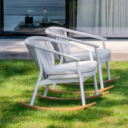 Poltrona de balanço de jardim em madeira maciça e tecido - Smart por Varaschin