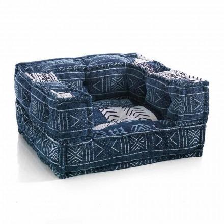 Poltrona Lounge étnica em tecido de retalhos ou veludo - fibra