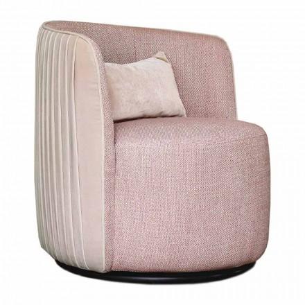 Poltrona giratória para sala de estar em tecido e metal preto Made in Italy - Lavender
