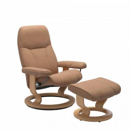 Poltrona reclinável de couro com otomano - Cônsul Stressless