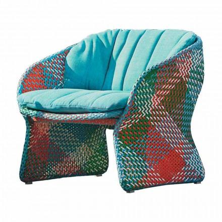 Poltrona estofada para sala de estar ao ar livre, em fibra sintética - Maat by Varaschin