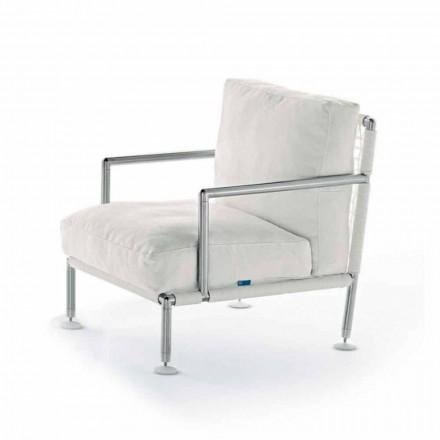 Poltrona de design moderno em aço e PVC preto ou branco para exteriores - Ontario 2