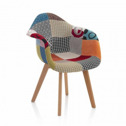Poltrona Patchwork Design em Tecido com Pernas de Madeira, 2 Peças - Selena