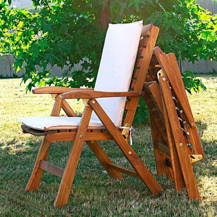Poltrona dobrável para exterior em madeira de teca
