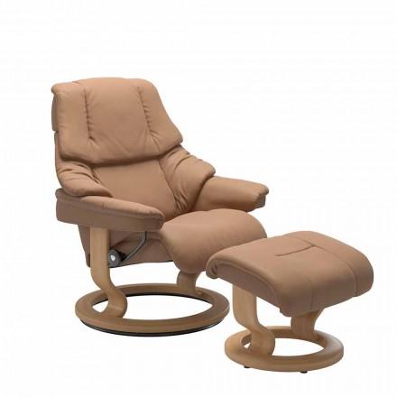 Poltrona reclinável de couro com apoio de cabeça e otomano - Reno Stressless