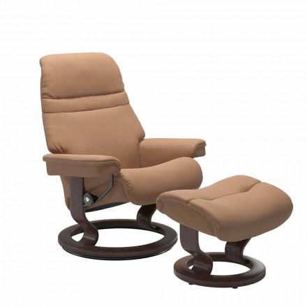 Poltrona reclinável de couro com apoio de cabeça e otomano - Stressless Sunrise