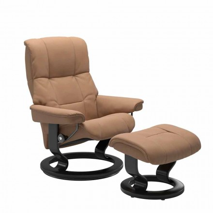 Poltrona reclinável de couro com otomano by Stressless - Mayfair