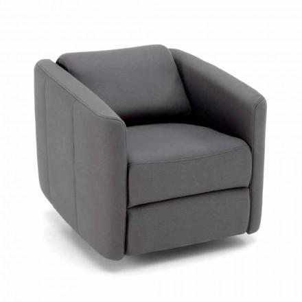 Poltrona reclinável giratória moderna para sala de estar em couro sintético - Magalotti