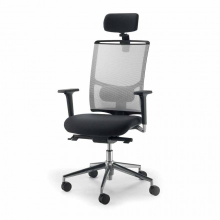 Cadeira giratória de malha Mina com detalhes em pele, design moderno