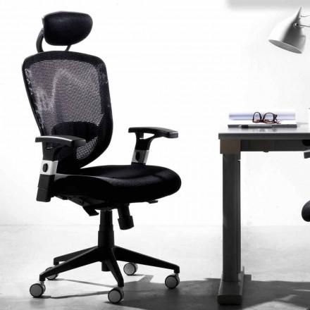 Cadeira preta moderna rotativa direcional e operacional - Simona