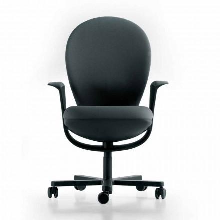Cadeira executiva Bea by Luxy, com moldura cinza