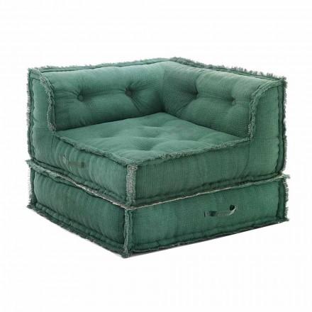 Poltrona de canto da espreguiçadeira em algodão cinza, verde ou azul - fibra