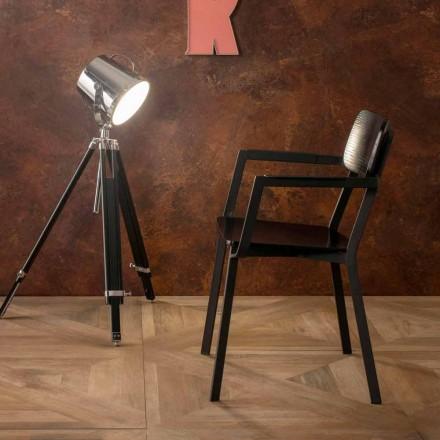 Poltrona moderna de design moderno em metal e madeira Elmas