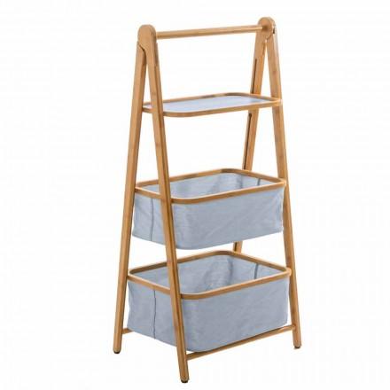 Porta acessórios para banheiro de design em tecido e bambu Vercelli