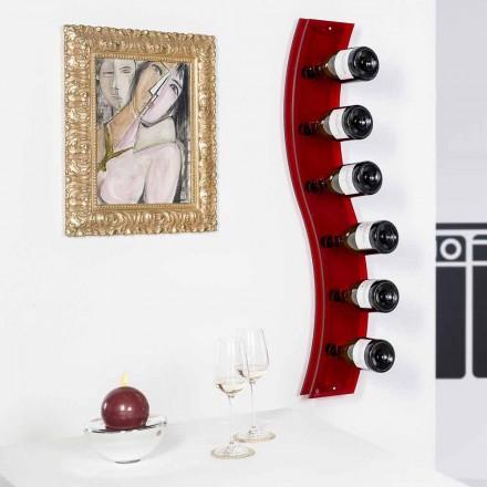 Cremalheira de vinho moderno montado na parede Serry, cor vermelha, L26,5xH100xP9cm