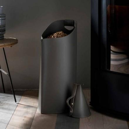 Suporte para pellets de madeira em couro Sapir, design moderno