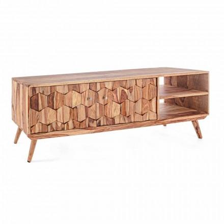 Suporte para TV de madeira com design vintage e puxadores de aço Homemotion - Ventador