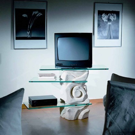 Mesa de TV clássica feita de pedra natural Vicenza e cristal Agape
