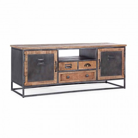 Stand de TV Estilo Industrial em Mango Wood and Steel Homemotion - Rupia