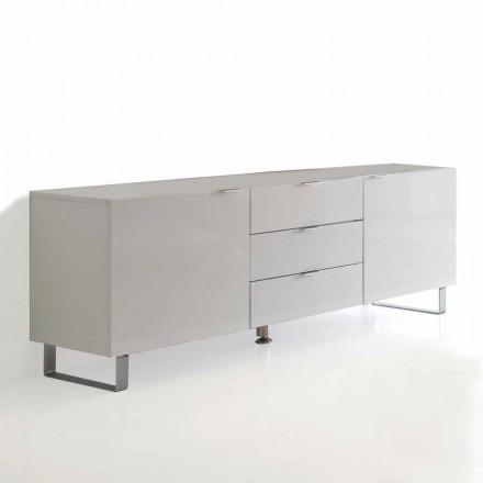 Stand de TV de design moderno Saffo, acabamento branco lacado