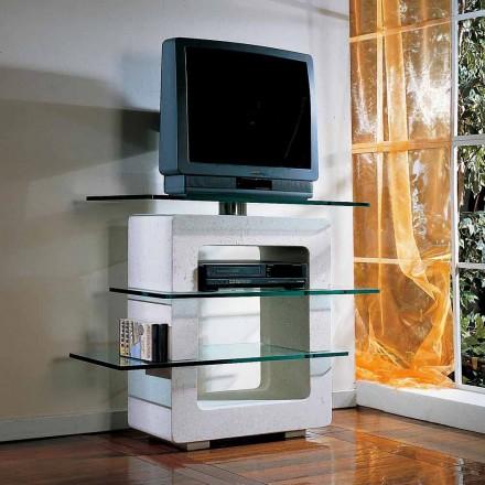Mesa de TV modular feita de pedra natural Vicenza e cristal Agnes