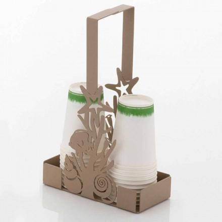 Porta-copos duplo com corais em ferro artesanal fabricado em Itália - Maste