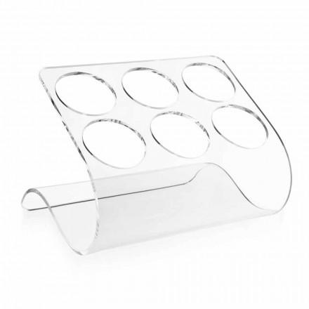 Suporte de garrafa autônomo para 6 garrafas em plexiglass transparente - tanatina