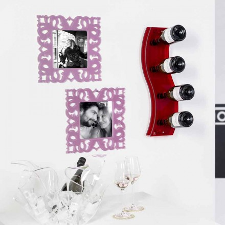 Rack de vinho vermelho montado na parede Serry Pequeno L26,5xH60xP9 cm, design moderno