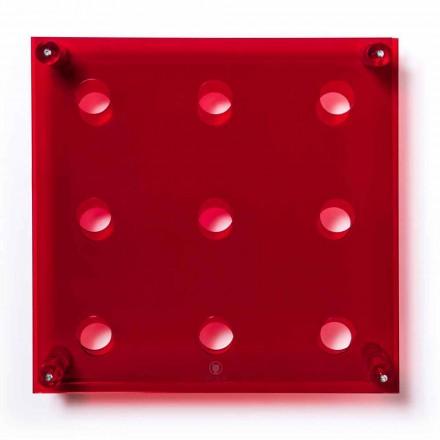 Suporte de garrafa de parede Amin Big, acabamento vermelho, L45xH45xP13,6cm