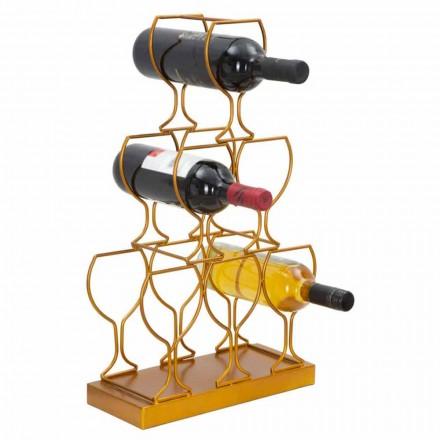Suporte para garrafas de piso ou mesa 6 garrafas de ferro, design moderno - Brody