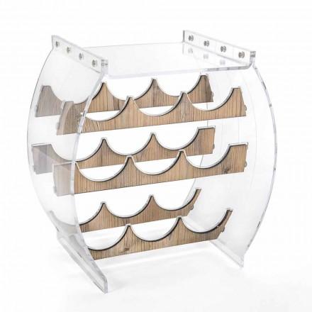 Suporte para garrafa de piso em Plexiglass transparente e design de madeira 9 lugares - Stria