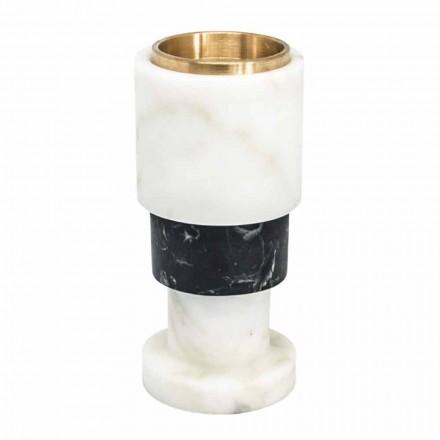 Castiçal baixo em mármore e latão bicolor fabricado na Itália - Brett