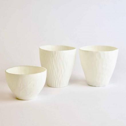 Castiçal Design em Porcelana Branca Decorada 3 Peças - Arcireale