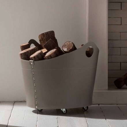 Suporte de lenha de couro interior com rodas Cadin, design moderno