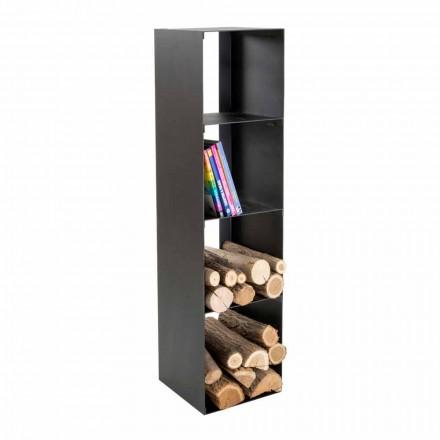 Porta-toras de madeira para interior moderno preto com prateleiras fabricadas em Itália - Cauro1