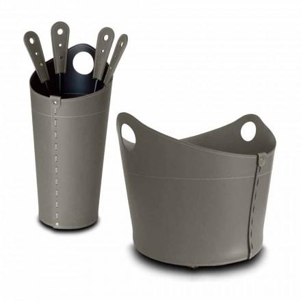 Porta-lenha, suporte de ferro e ferros para couro Nicad, fabricados na Itália