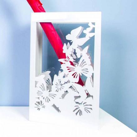 Porta guarda-chuva de madeira branca com design moderno, decorado com borboletas - Papilio
