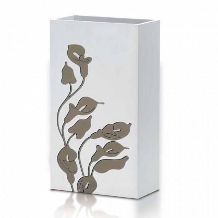 Design moderno de carrinho de guarda-chuva de madeira branca com decorações florais - Caracalla