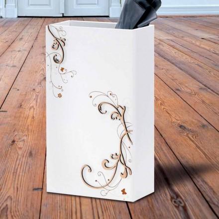 Carrinho de guarda-chuva elegante moderno em madeira escura ou branca com decorações - poesia