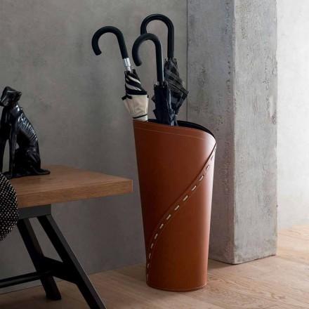 Guarda-chuva moderno em couro regenerado Katrina, fabricado na Itália