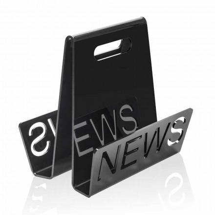 Porta-revistas de design em plexiglás preto ou transparente fabricado na Itália - Omar
