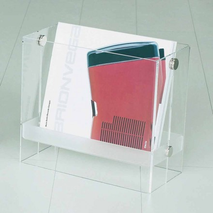 Porta-revistas de design moderno Tanko, feito de metacrilato transparente
