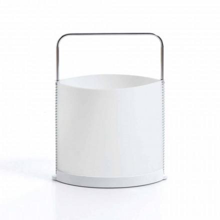 Porta-revistas de design moderno Delio, acabamento branco pérola e base em resina