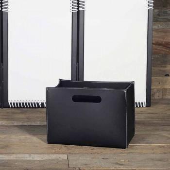 Porta-revistas moderno em couro Sandler
